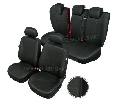 Huse scaune auto imitatie piele Ford Focus 1 si Focus 2, 1998-2010 set huse fata + spate, culoare negru